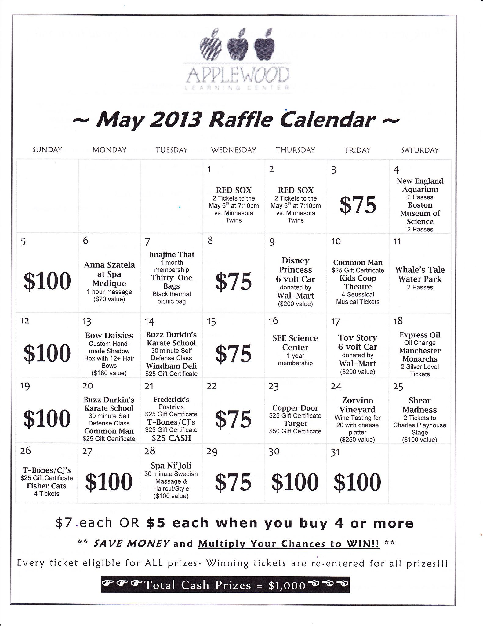 Calendar Raffle Ideas : Annual calendar just b use