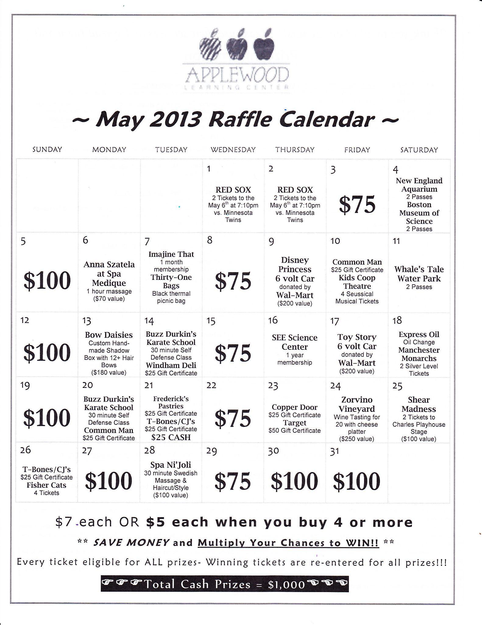 Monthly Calendar Raffle : Annual raffle calendar fundraiser applewood learning center